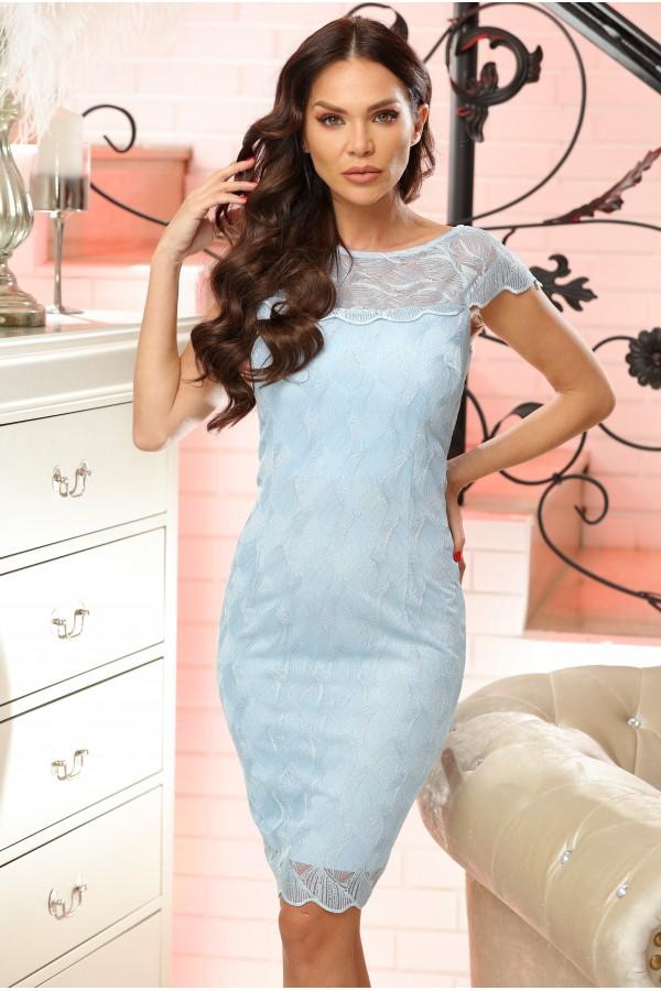 Rochie Elissa bleu cu dantela aplicata