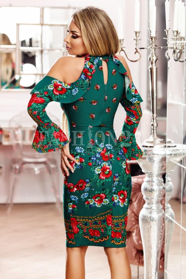 Rochie Karina verde in stil traditional