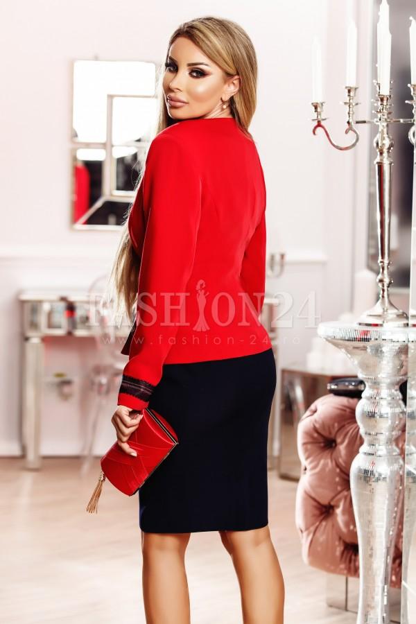 Compleu Adelaide bleumarin rosu cu insertii aurii elegante