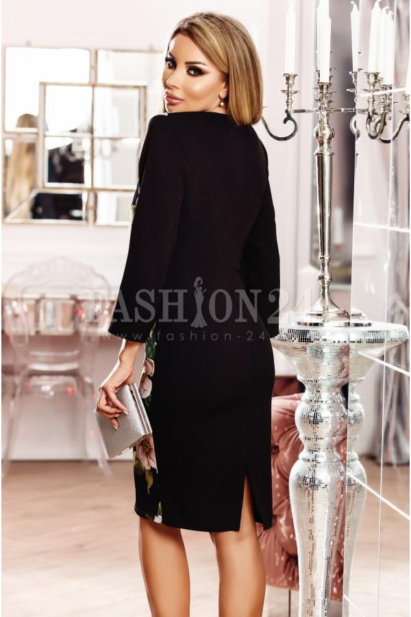 Rochie neagra cu imprimeuri si manecile lungi