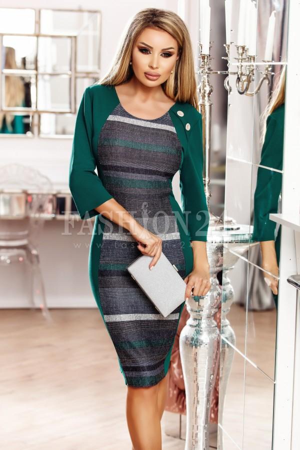 Rochie Isabelle verde cu nasturi decorativi