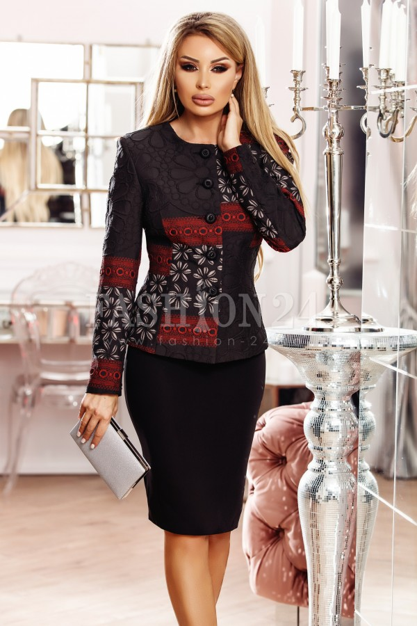 Compleu elegant Alina negru rosu