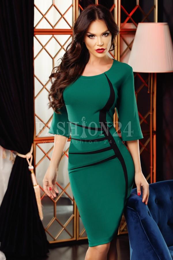 Rochie eleganta Jolie verde negru