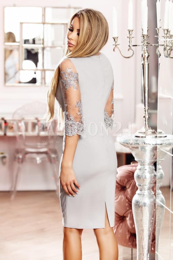 Rochie de seara gri cu manecile din dantela