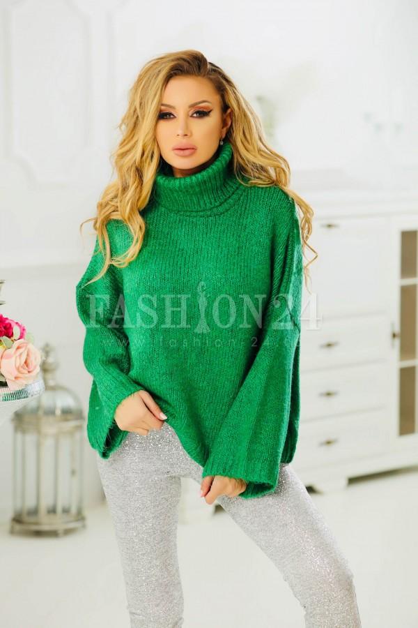 Pulover verde elegant cu aspect tricotat
