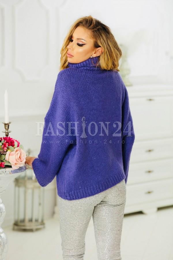 Pulover mov elegant cu aspect tricotat