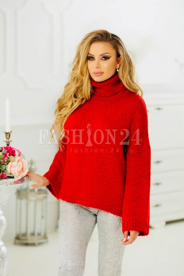 Pulover rosu elegant cu aspect tricotat