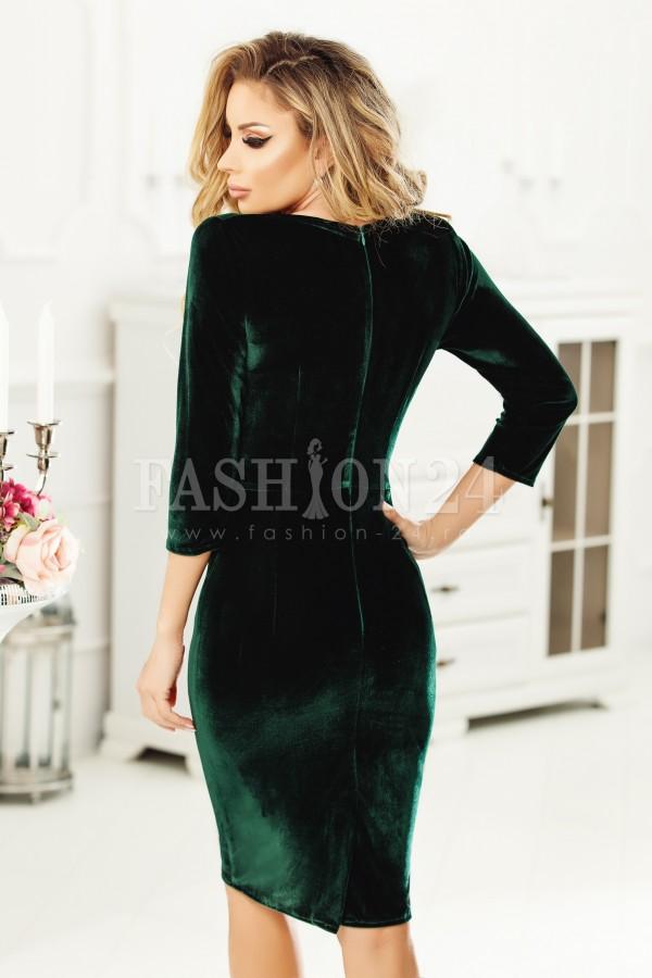 Rochie Alessia verde din catifea