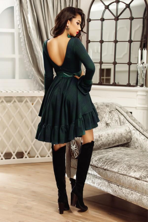 Rochie de seara verde eleganta cu volanase