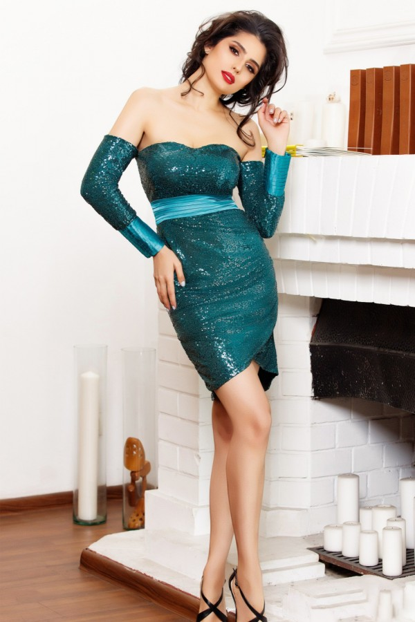 Rochie de seara verde cu paiete