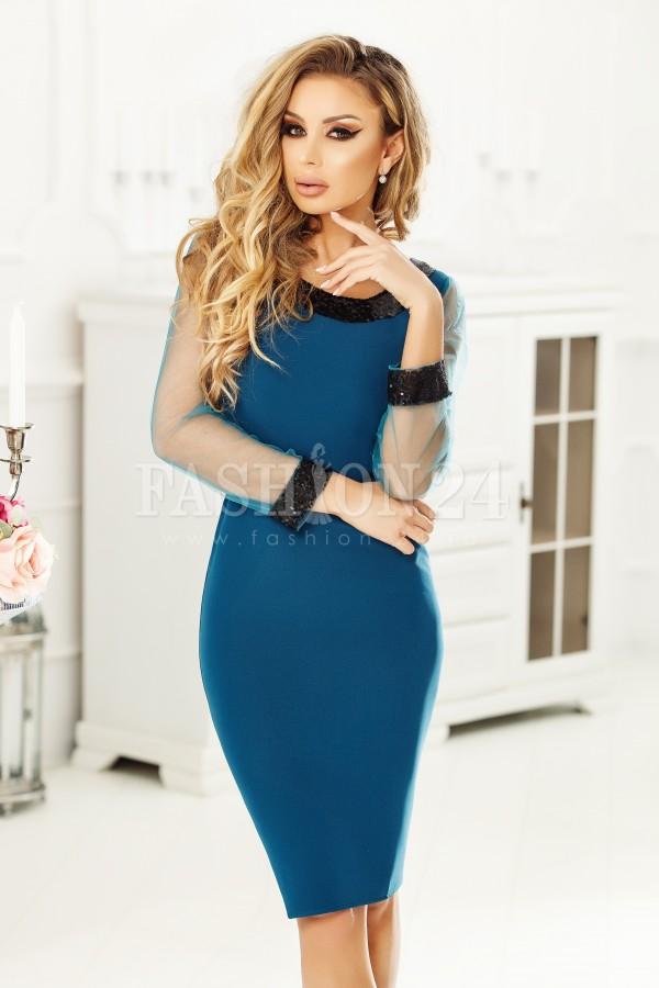 Rochie Tiana albastra cu paiete