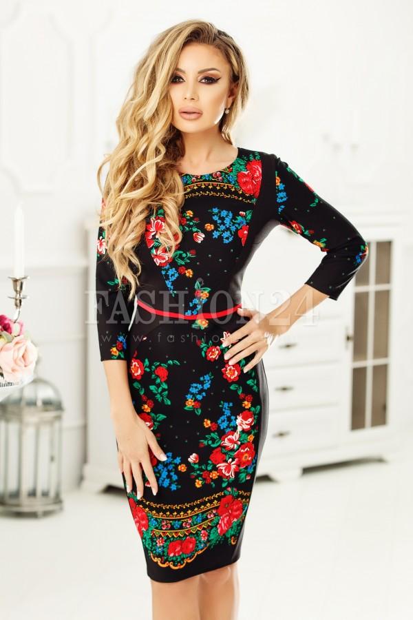 Rochie midi Elora cu imprimeuri florale