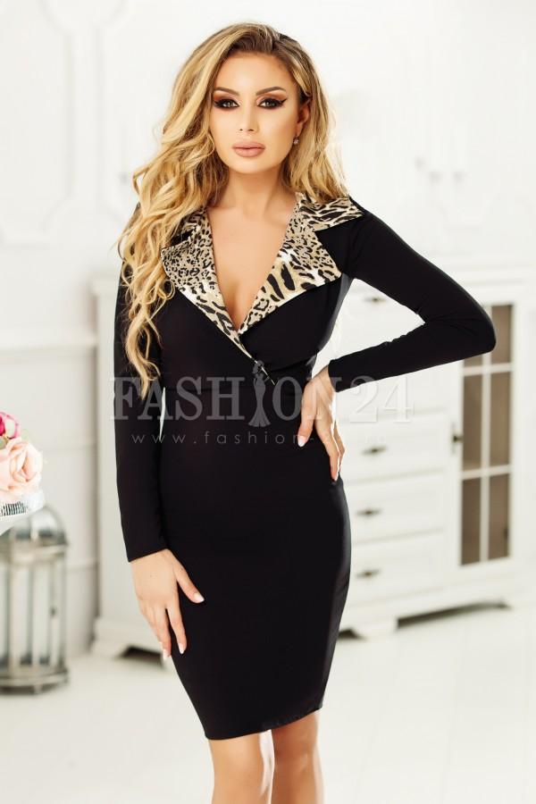 Rochie midi Abby negru leopard