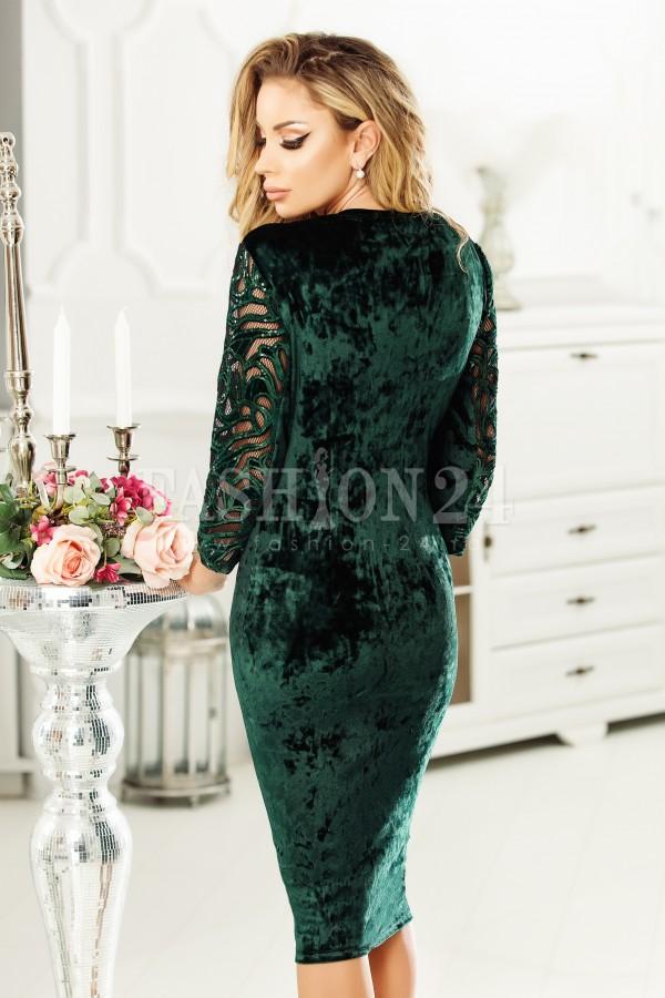 Rochie Ofelia verde cu peplum in talie