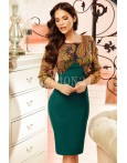 Rochie midi Sandra verde cu imprimeuri