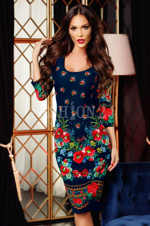 Rochie Adela bleumarin cu motive traditionale
