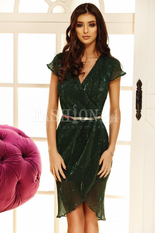 Rochie Anisia verde petrecuta