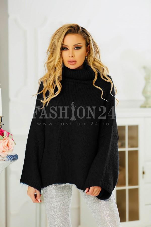 Pulover negru elegant cu aspect tricotat