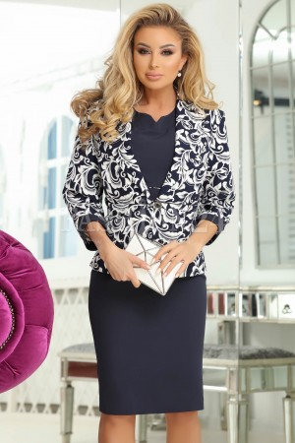 Rochie si sacou Serena bleumarin cu imprimeuri albe