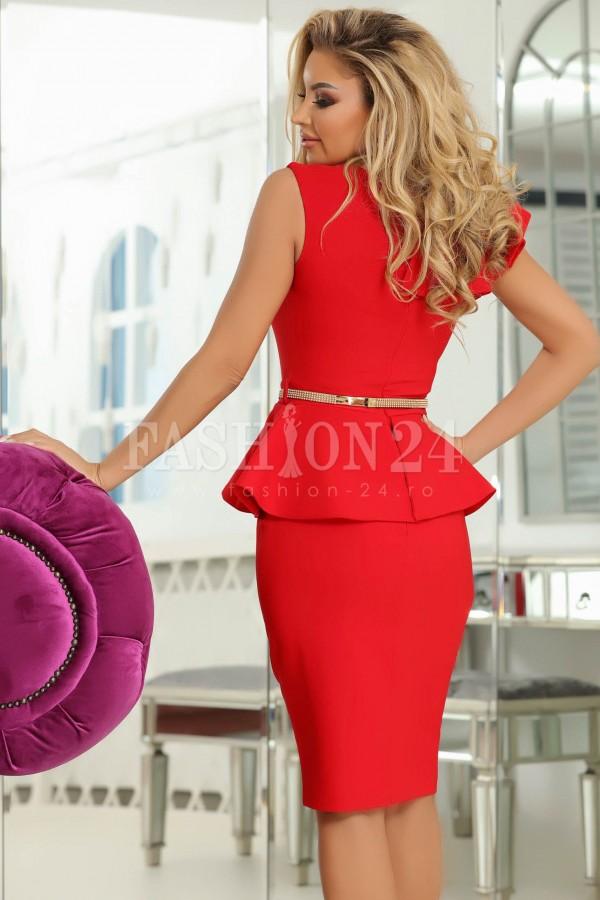 Rochie midi Liana rosie cu peplum