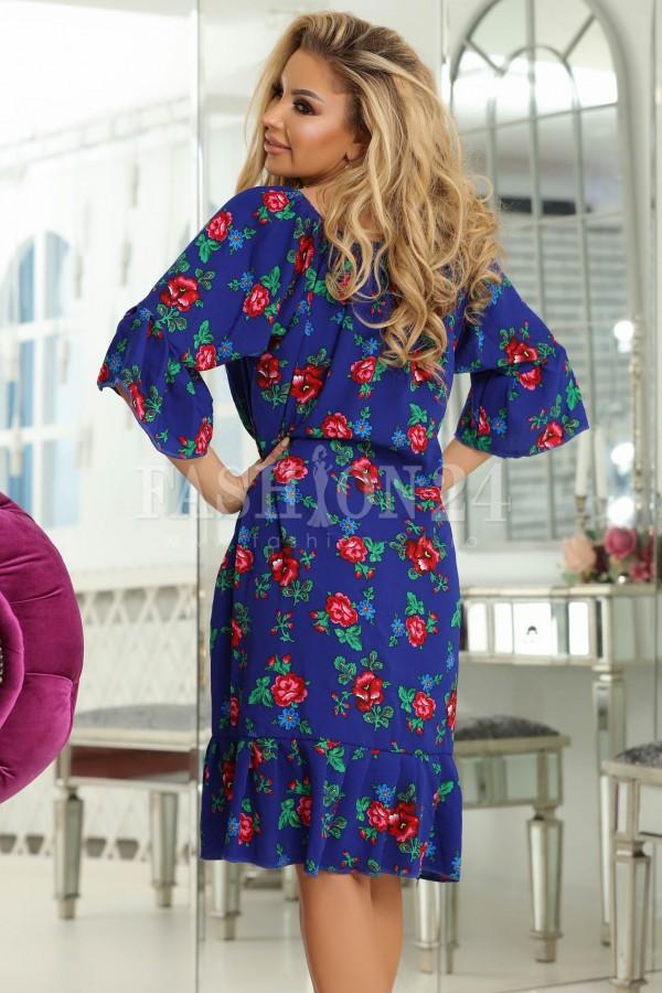 Rochie Eliada albastra cu imprimeuri