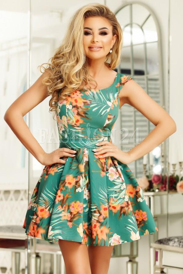 Rochie Sylvia verde cu imprimeuri