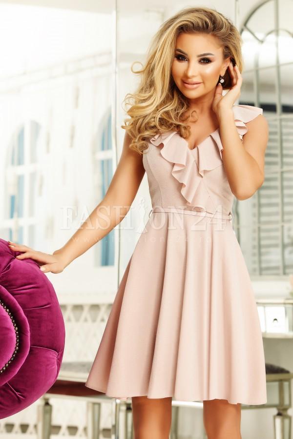 Rochie Zaira roz pudra cu volanase