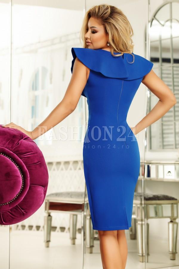 Rochie Selena albastra cu volanase