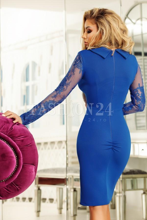 Rochie Elis albastra cu dantela pe maneci