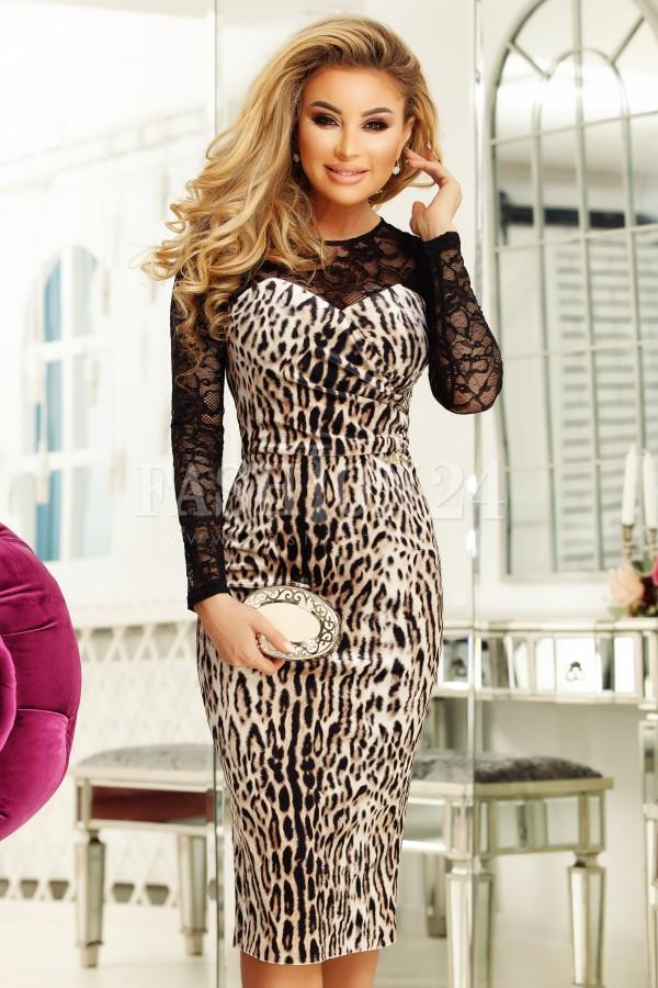 Rochie Anne model leopard cu manecile din dantela