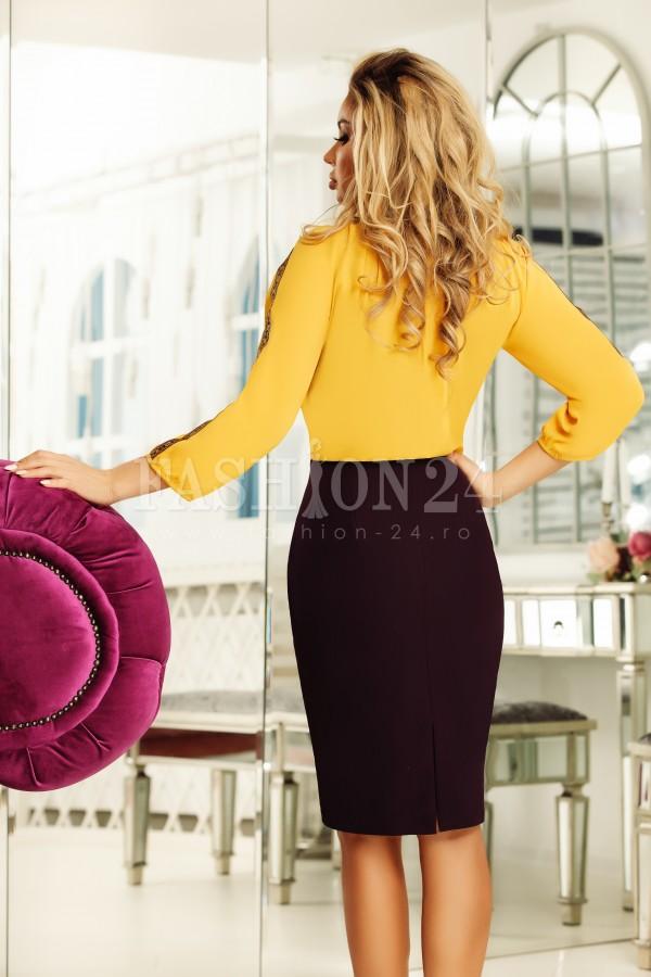 Rochie Emma negru mustar cu motive traditionale