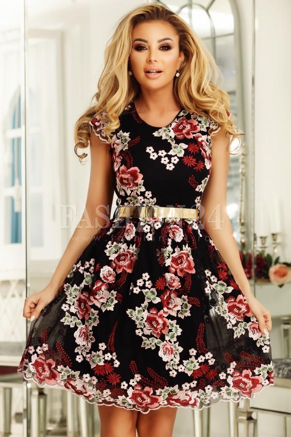 Rochie Helena negru roz cu broderie