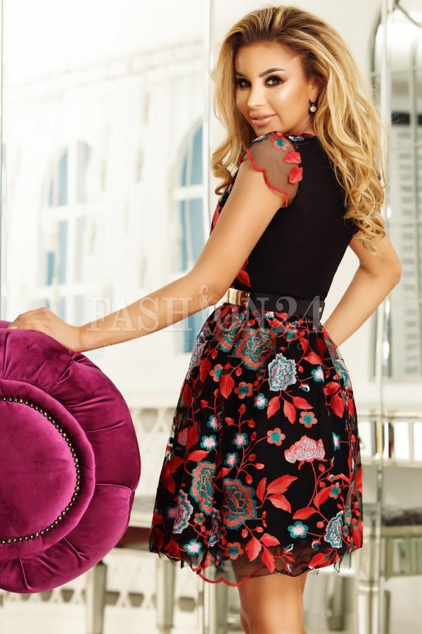 Rochie Helena negru rosu cu broderie