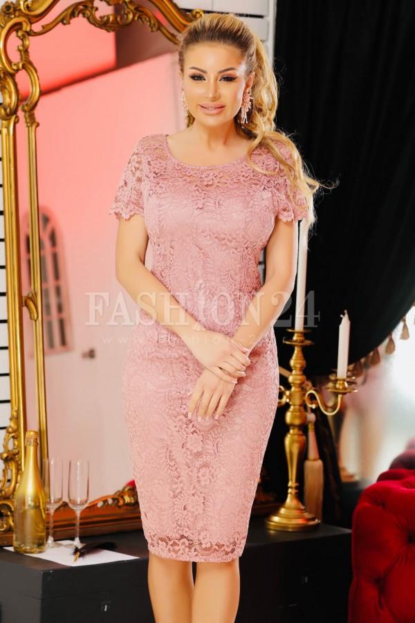 Rochie Lora roz din dantela