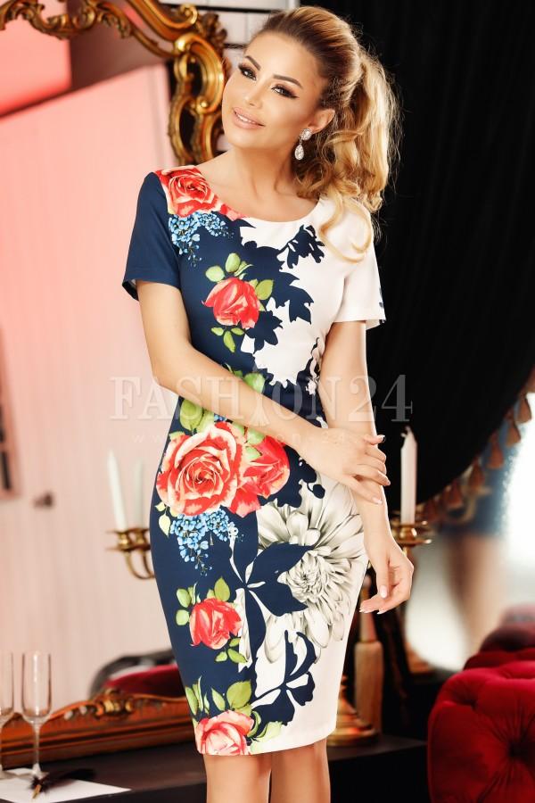 Rochie Bella alb bleumarin cu imprimeuri