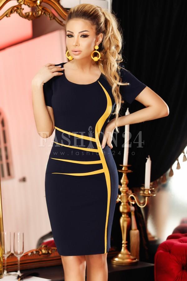 Rochie eleganta Jolie neagra cu manecile scurte