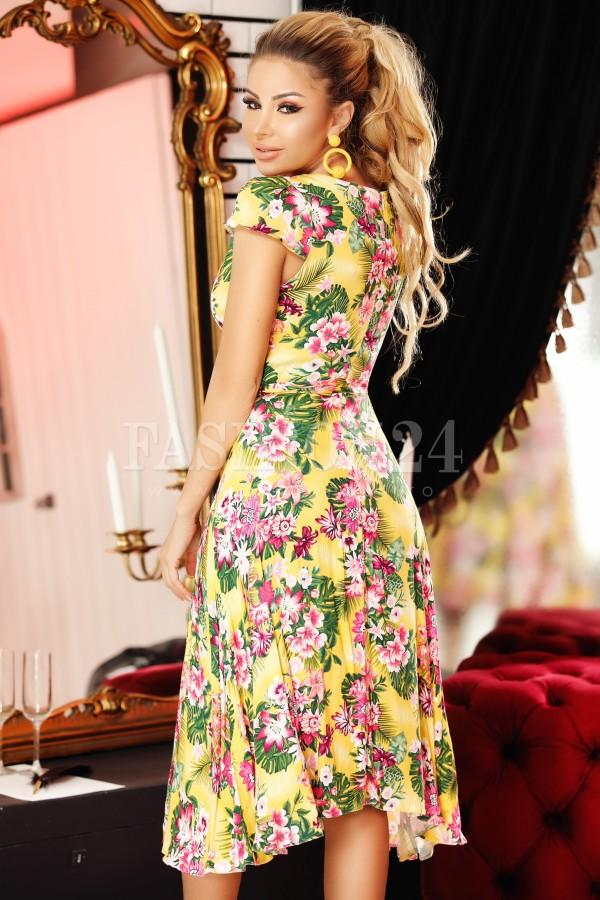 Rochie galbena cu imprimeuri florale
