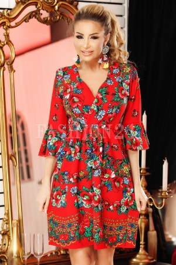 Rochie rosie cu imprimeu traditional deosebit