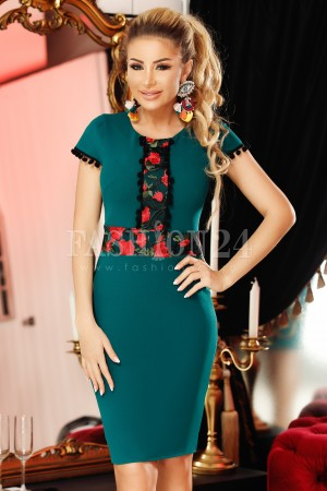 Rochie Mara verde in stil traditional