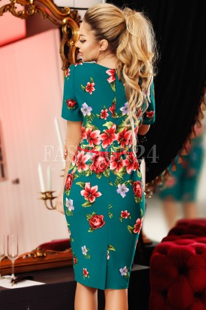 Rochie Lidia verde in stil traditional