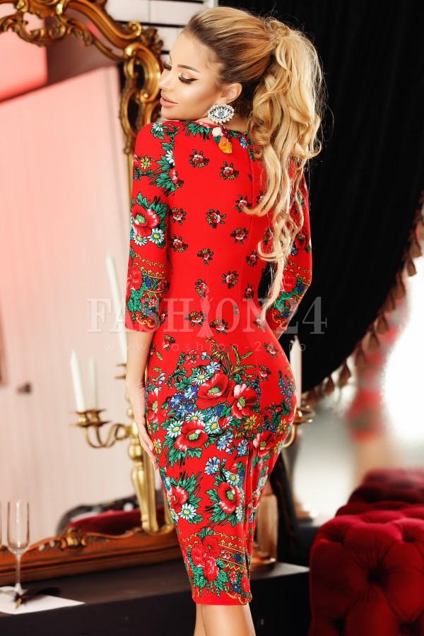 Rochie midi Adela rosie cu motive traditionale