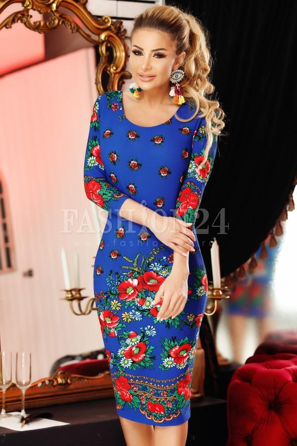 Rochie midi Adela albastra cu motive traditionale