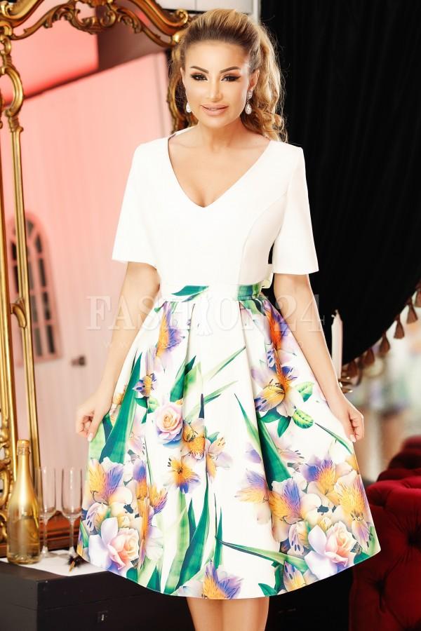 Rochie eleganta alba cu imprimeuri florale