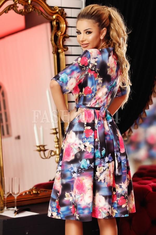Rochie eleganta mov cu imprimeuri florale