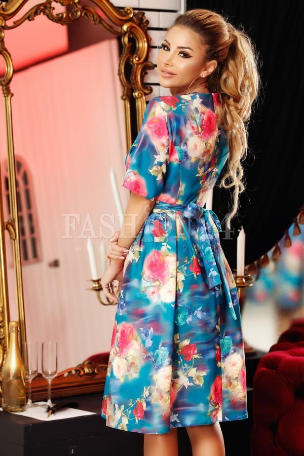 Rochie eleganta albastra cu imprimeuri florale