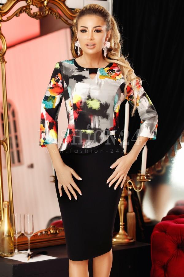 Rochie Yasmin negru gri cu imprimeuri