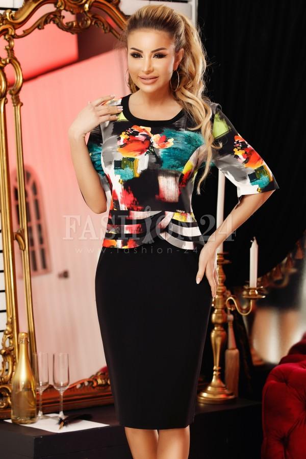 Rochie Yasmin negru multicolor cu imprimeuri