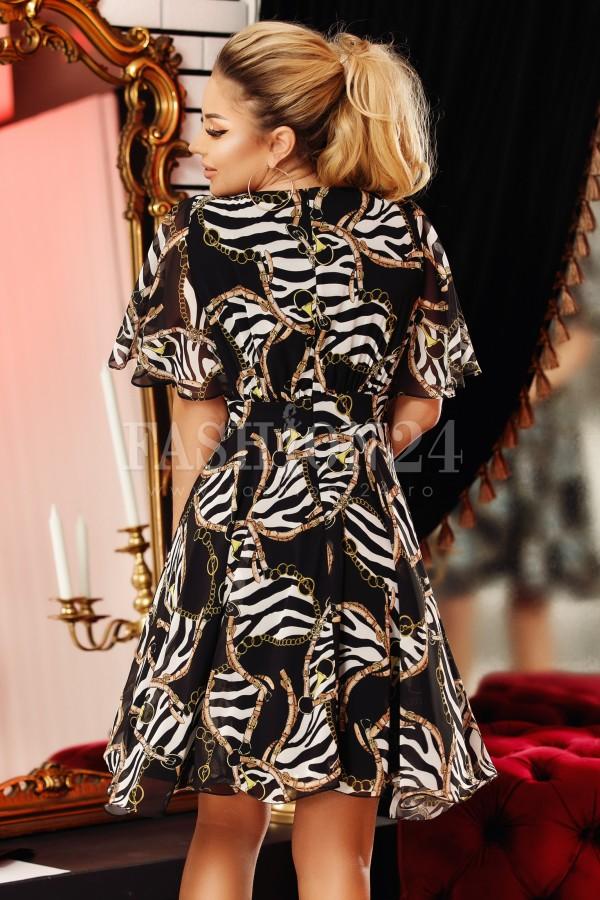Rochie Emi neagra cu imprimeuri