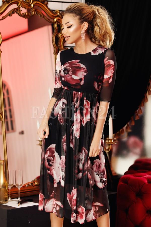 Rochie de seara in clos cu imprimeuri rose