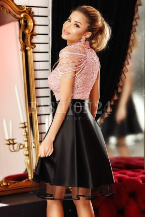 Rochie de ocazie Mirena negru roz